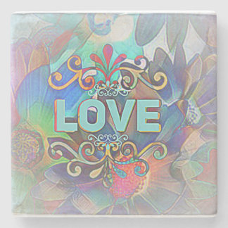 """Love"" on Beautiful Marble StoneCoaster Stone Coaster"