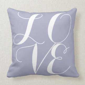 LOVE on Lilac Cushion