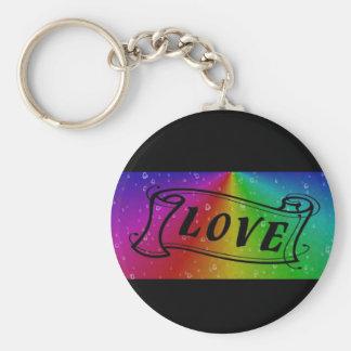 Love on Rainbow in elephant Skin Leather Optic Basic Round Button Key Ring