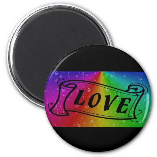 Love on Rainbow in elephant Skin Leather Optic Fridge Magnets