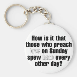 Love on Sunday, Hate on Monday Basic Round Button Key Ring