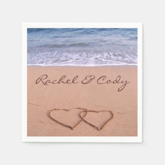 Love on the beach paper napkin