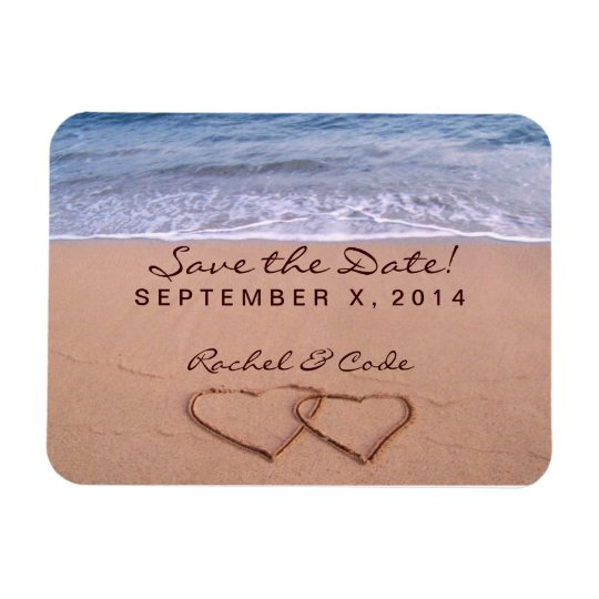 Love on the beach save the date magnet