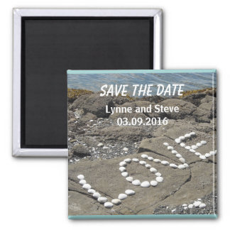 Love on the Beach Save the Date Square Magnet