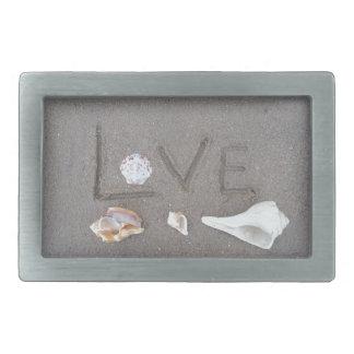 Love on the Beach with sea shells Rectangular Belt Buckle