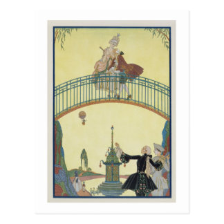 Love on the Bridge, illustration for 'Fetes Galant Postcard