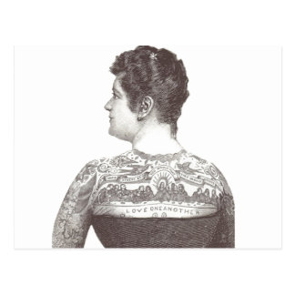 'Love One Another' Tattooed Victorian Woman Postcard