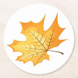 Love Orange Autumn Leaf Wedding Party Round Paper Coaster