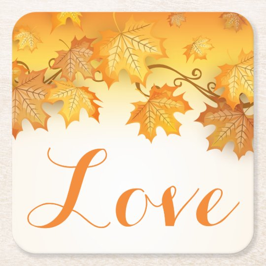Love Orange Autumn Leaves Wedding Party Square Paper