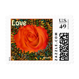 Love Orange Rose and Butterflies Small Stamp