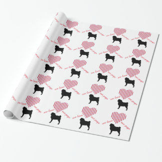 love our pugs wrapping paper