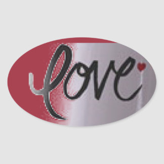 Love Oval Stickers