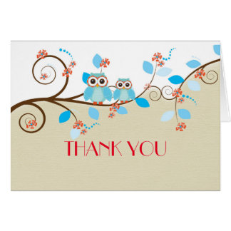 Love Owl Branches Wood Damask Thank you card