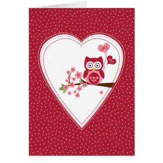 Love owl romantic Valentine's Day card Red