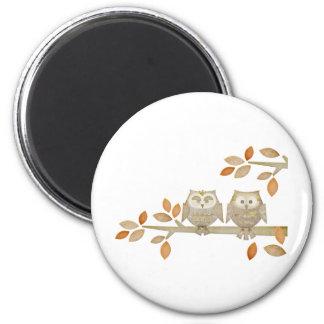 Love Owls in Tree 6 Cm Round Magnet