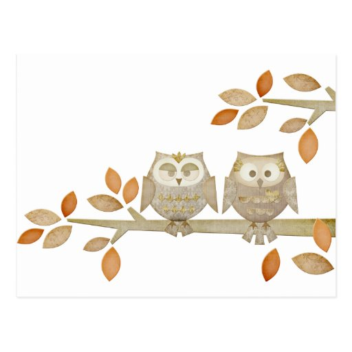 Love Owls in Tree Post Card