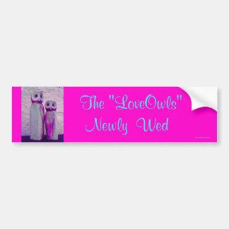 """Love Owls"" Just Married Cute Wedding Design Bumper Sticker"