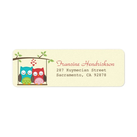 Love Owls On Tree Swing Return Address Label