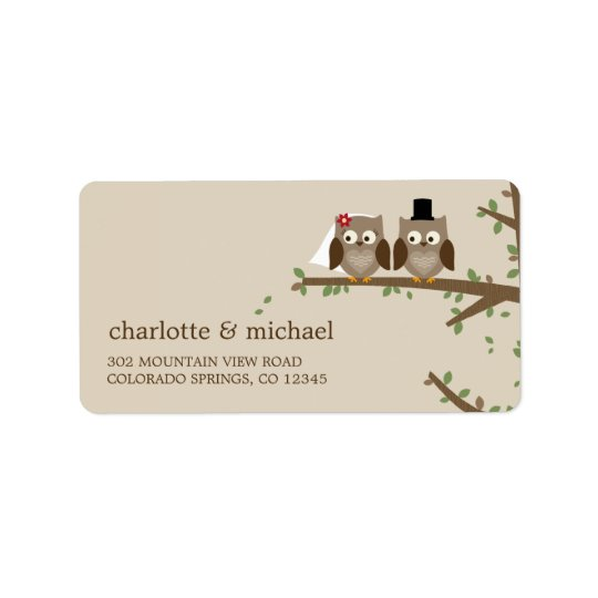 Love Owls Wedding Address Labels