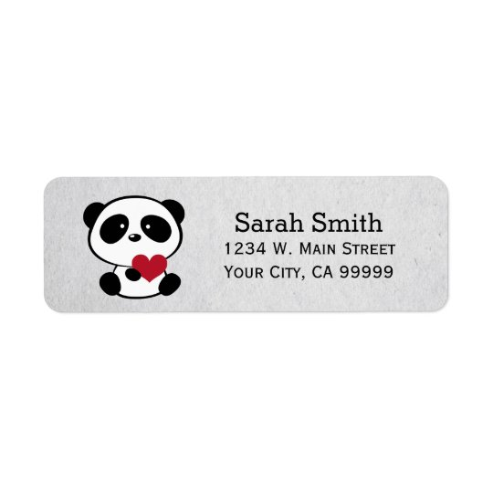 Love Panda Bear Return Address Labels