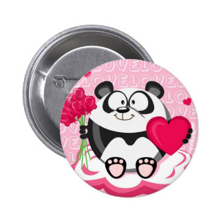 Love panda from the circle series 6 cm round badge