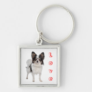 Love Papillon Puppy Dog keychain
