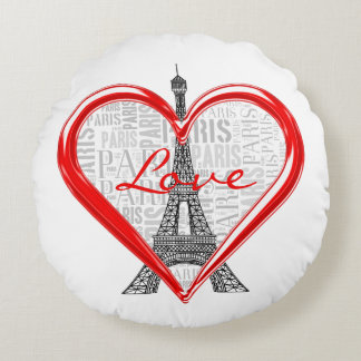 Love Paris | Adorable Eiffel Tower Round Cushion