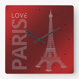 Love Paris Dark Red Background Square Wall Clock