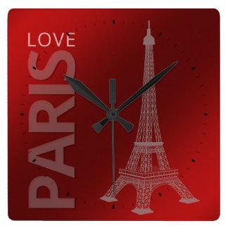 Love Paris Dark Red Background Wallclock