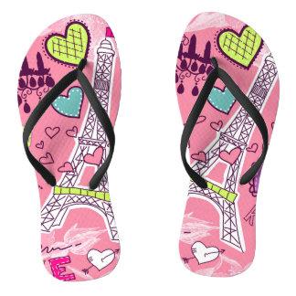 Love Paris France Pink Flip Flops