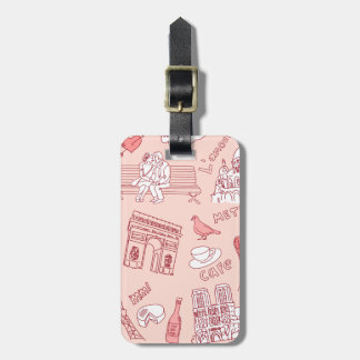 Love Paris France Pink Luggage Tag