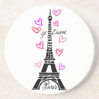 LOVE PARIS JE T'AIME EIFFEL TOWER PRINT BEVERAGE COASTER