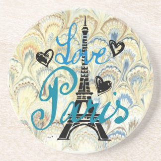 LOVE PARIS PASTEL BLUE HEARTS AND EIFFEL PRINT COASTERS
