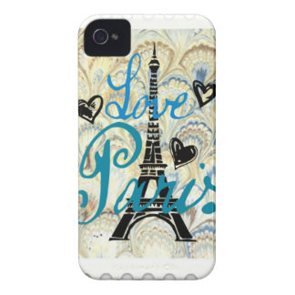 LOVE PARIS PASTEL BLUE HEARTS AND EIFFEL PRINT iPhone 4 COVER