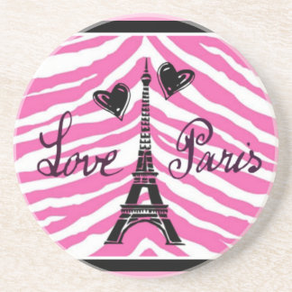 LOVE PARIS PINK ZEBRA EIFFEL TOWER HEART PRINT COASTER
