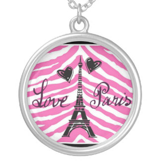 LOVE PARIS PINK ZEBRA EIFFEL TOWER HEART PRINT SILVER PLATED NECKLACE