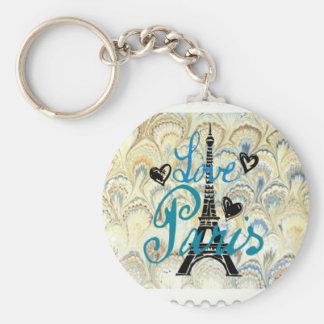 LOVE PARIS POSTAGE STAMP PRINT KEY RING