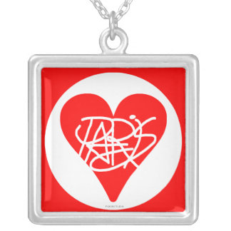 Love Paris Square Necklace Red Heart