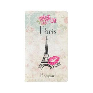 Love Paris with Eiffel Tower on Vintage Pattern Large Moleskine Notebook