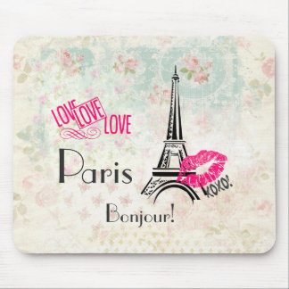 Love Paris with Eiffel Tower on Vintage Pattern Mouse Mat