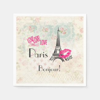 Love Paris with Eiffel Tower on Vintage Pattern Paper Napkins