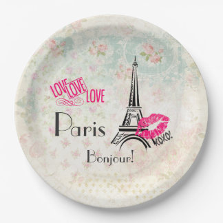 Love Paris with Eiffel Tower on Vintage Pattern Paper Plate