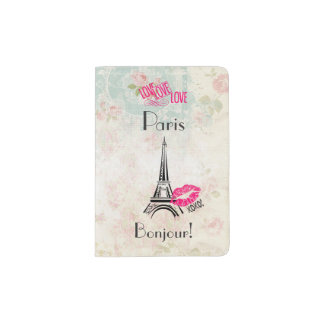 Love Paris with Eiffel Tower on Vintage Pattern Passport Holder