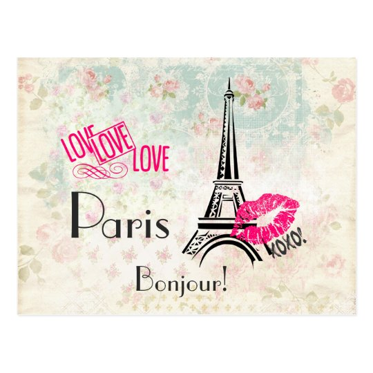 Love Paris with Eiffel Tower on Vintage Pattern