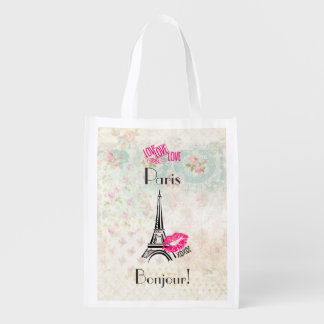 Love Paris with Eiffel Tower on Vintage Pattern Reusable Grocery Bag