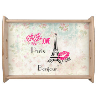 Love Paris with Eiffel Tower on Vintage Pattern Serving Tray