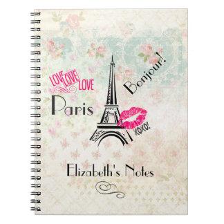 Love Paris with Eiffel Tower on Vintage Pattern Spiral Notebook