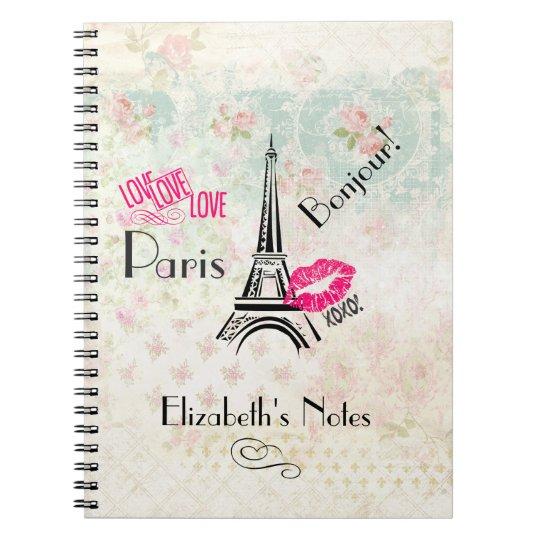 Love Paris with Eiffel Tower on Vintage Pattern