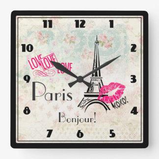 Love Paris with Eiffel Tower on Vintage Pattern Square Wall Clock
