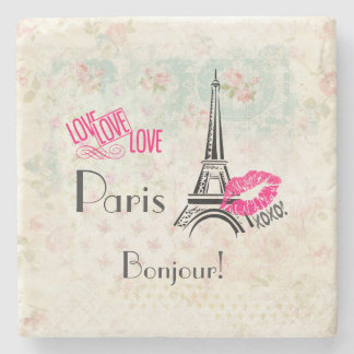 Love Paris with Eiffel Tower on Vintage Pattern Stone Coaster